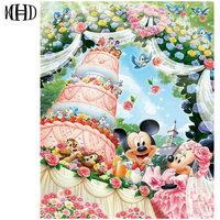 Cartoon Diamond Painting Full Round Mickey Mouse Cake 3D Diamond Embroidery Crystal Mosaic Sticker Decoration 40
