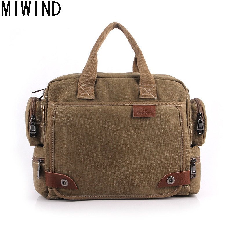 MIWIND Brand Men Business Messenger Bag Famous Canvas Bags Casual Mens Shoulder Bags Vintage Men's Crossbody Bags  T1234 polo men shoulder bags famous brand casual business pu leather mens messenger bag vintage men s crossbody bag bolsa male handbag