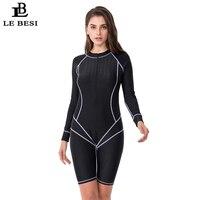 LEBESI Women Professional Sports One Piece Swimsuit Plus Size Swimwear Shark Fabric Waterproof Beachwear Long Sleeve Surf suit