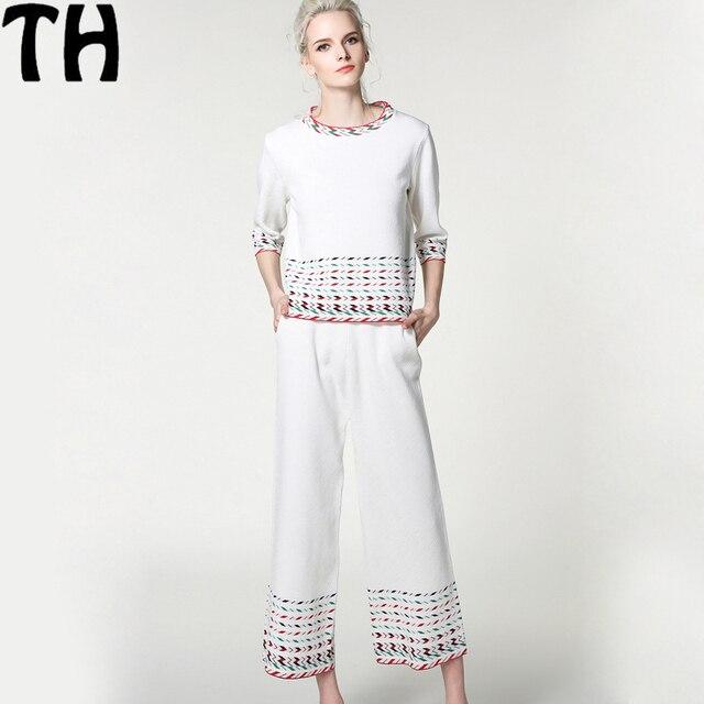 2017 весной и летом новый бренд трикотажные костюм установить Высокое качество женщины белый мода свитер топ + широкого покроя брюки набор костюм Z009