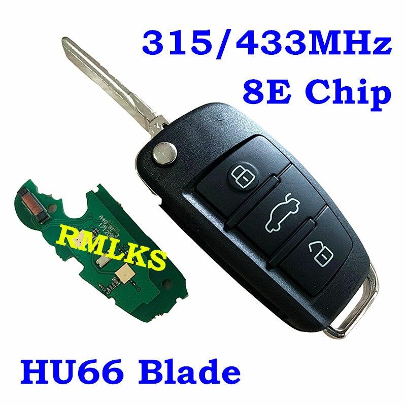 Flip télécommande 315 MHz 434 MHz électronique 8E puce pour Audi A6L Q7 voiture Fob non coupé HU66 lame