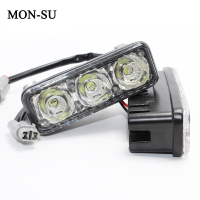 MON SU Car High Power LED DRL Fog Lamps Waterproof Daytime Running Lights With Lens DC12V