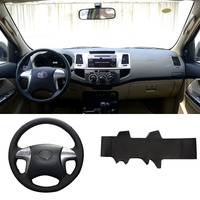 DIY Sewing on PU Leather Steering Wheel Cover Exact Fit For Toyota Fortuner Hilux 2012 2015