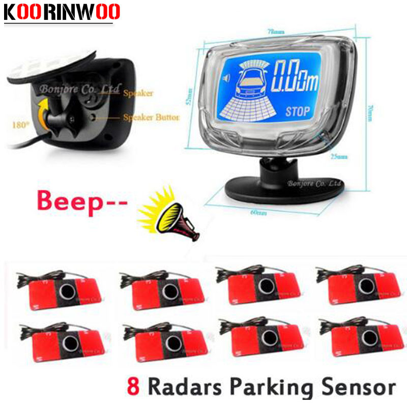 Koorinwoo Lcd Monitor Car Parking Sensor 8 Radars Auto detector Front and Rear Vehicle Parktronic with Sensors Parking System