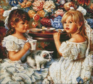 Image 2 - Needlework for embroidery DIY French DMC High Quality   Counted Cross Stitch Kits 14 ct Oil painting   Tea Party