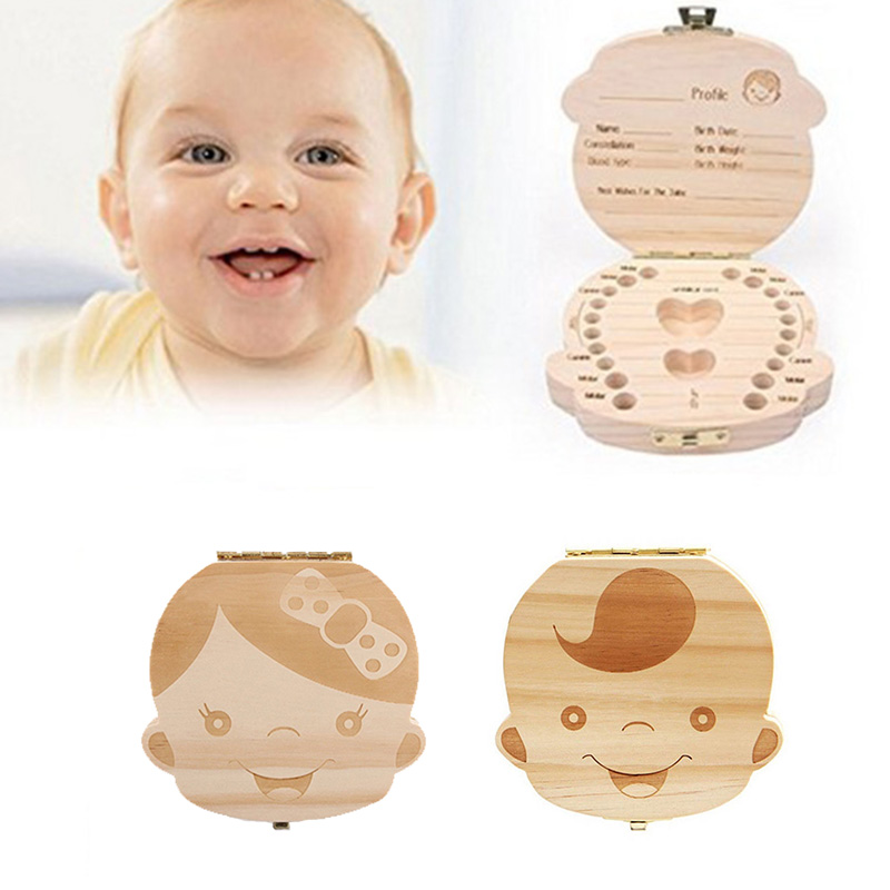 Wooden Baby Milk Teeth Box Spanish English Russian French Kids Tooth Collection Souvenirs Organizer Storage Case NBB0195