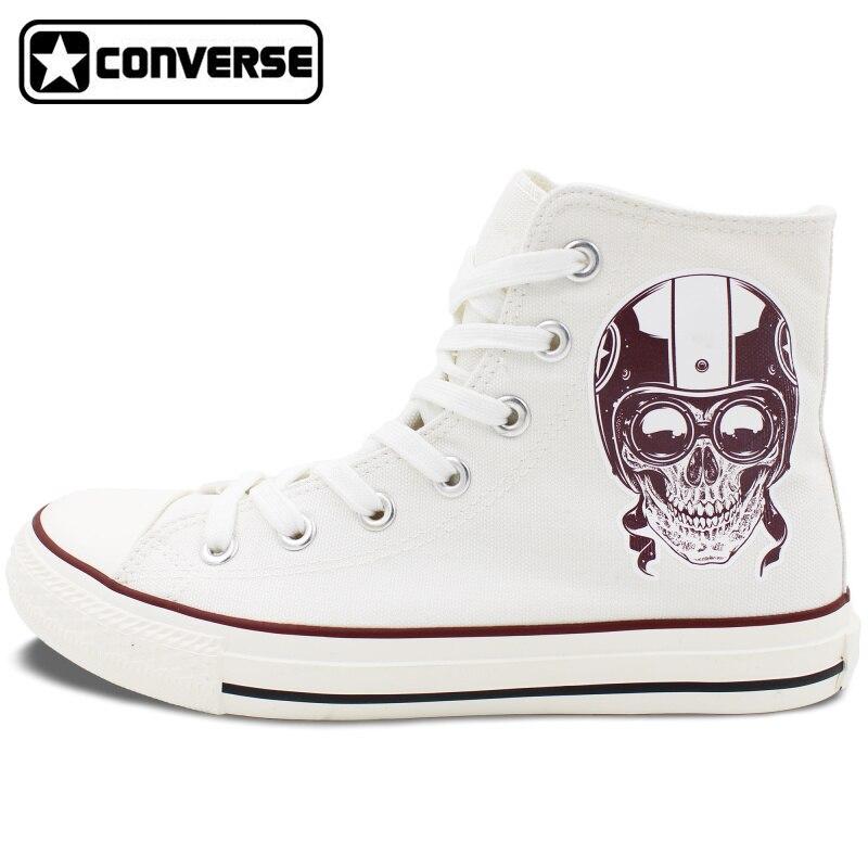 Prix pour Hommes Femmes de New Converse All Star Chaussures Crâne sur la Moto High Top Blanc Toile Sneakers D'anniversaire Cadeaux