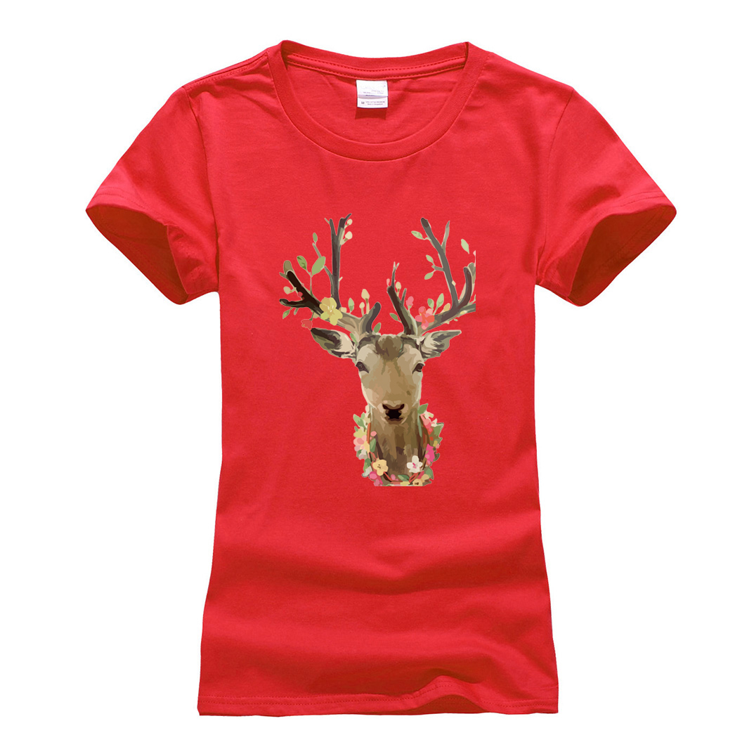 women streetwear harajuku cotton tops tee t-shirt Cute animal deer printed short sleeve t shirts 2019 summer casual tshirt femme