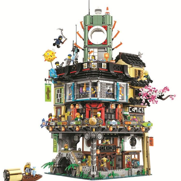 Juego de bloques de construcción de modelos de la ciudad Ninja serie 10727 Compatible con juguetes de Casa de arquitectura clásica 70620 para niños
