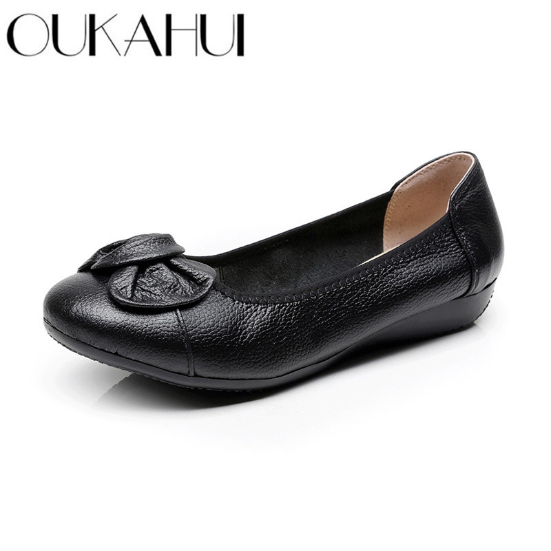 OUKAHUI Spring Autumn Genuine Leather Women Ballet Flats Shoes Black Slip-On Heart-Shaped Bowknot Soft Light Ladies Flat Shoes  OUKAHUI Spring Autumn Genuine Leather Women Ballet Flats Shoes Black Slip-On Heart-Shaped Bowknot Soft Light Ladies Flat Shoes