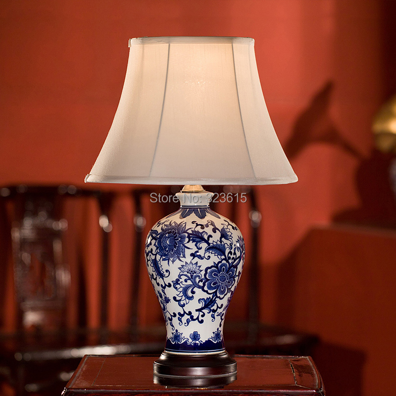 Blue And White Porcelain Vase Table Lamp Cloth Shade Table Lamp European  Rural Style Bedroom Living Room Study Table Lamp In Table Lamps From Lights  ...
