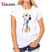 Women T-shirt Colorful Painted Dog 3D Print Funny T Shirt Short Sleeve White T-shirts hip hop Tee Summer Tops graphic t shirts