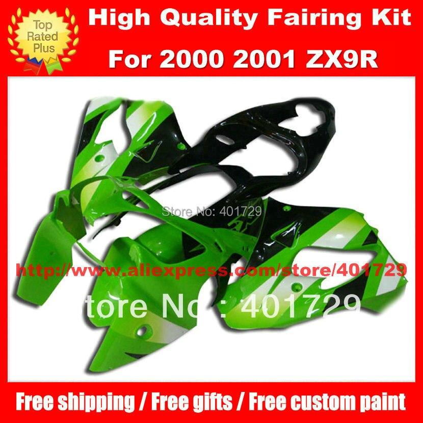 Cadeaux gratuits racing carénage kit pour Kawasaki ZX9R 2000 2001 zx - 9r 00 01 vert terne plastique ABS carénage kit