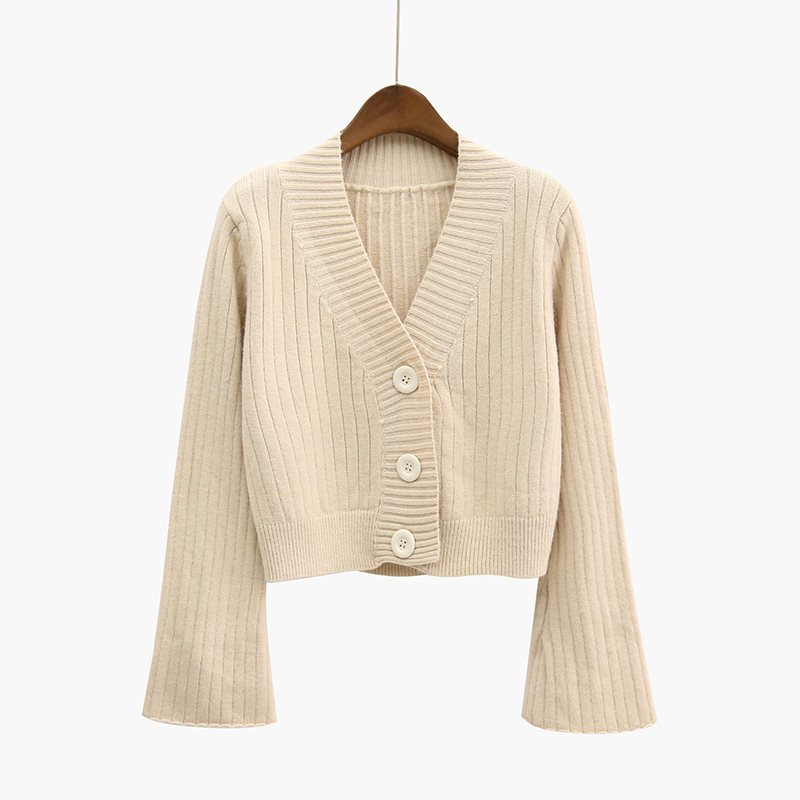 Women Cardigan Knitted Sweater Bell sleeve V-neck Female Cardigan With Buttons Short Sweater Women Cardigans Sweater XY404