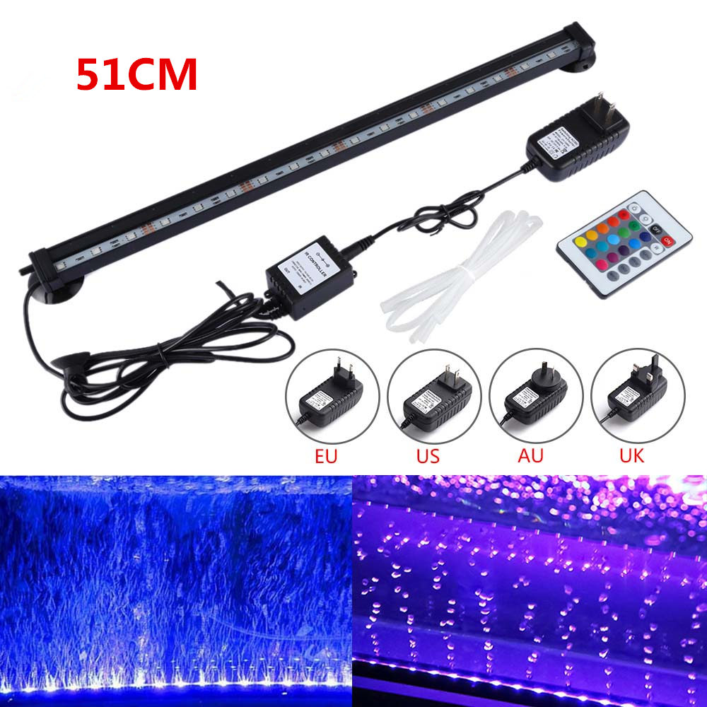 US AU EU UK Plug 51CM SMD 5050 RGB Waterproof LED Aquarium Fish Tank Submersible Light Air Bubble Lamp Remote New rgb led aquarium light fish tank waterproof ip68 5050 smd led bar light lamp submersible remote eu us plug 18cm 28cm 38cm 48cm