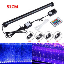 US AU EU UK Plug 51CM SMD 5050 RGB Waterproof LED Aquarium Fish Tank Submersible Light Air Bubble Lamp Remote New 46cm 18pcs led aquarium fish tank light tube bar light underwater submersible air bubble safe lighting us eu uk saa plug