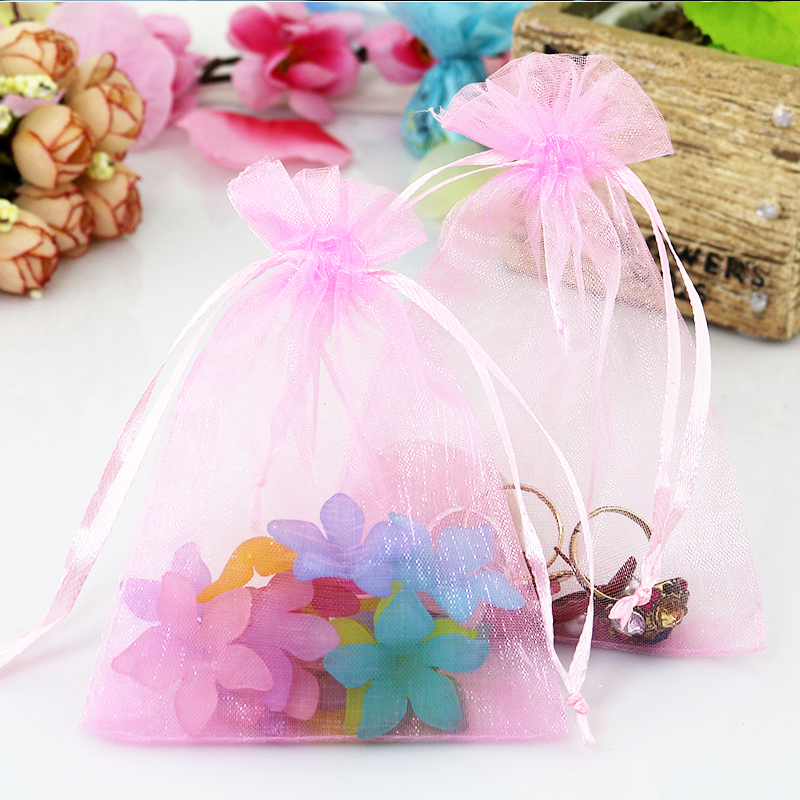 Wholesale 100pcs/lot 30x40cm Pink Wedding Drawable Organza Voile Gift Packaging Bags&Pouches Can Customized Logo Printing