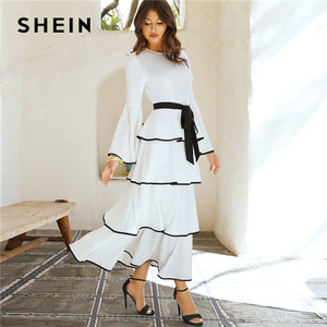 Image 2 - SHEIN Elegant White Contrast Binding Layered Ruffle Hem Belted Maxi Dress Women Autumn Ruffle Fit and Flare High Waist Dresses