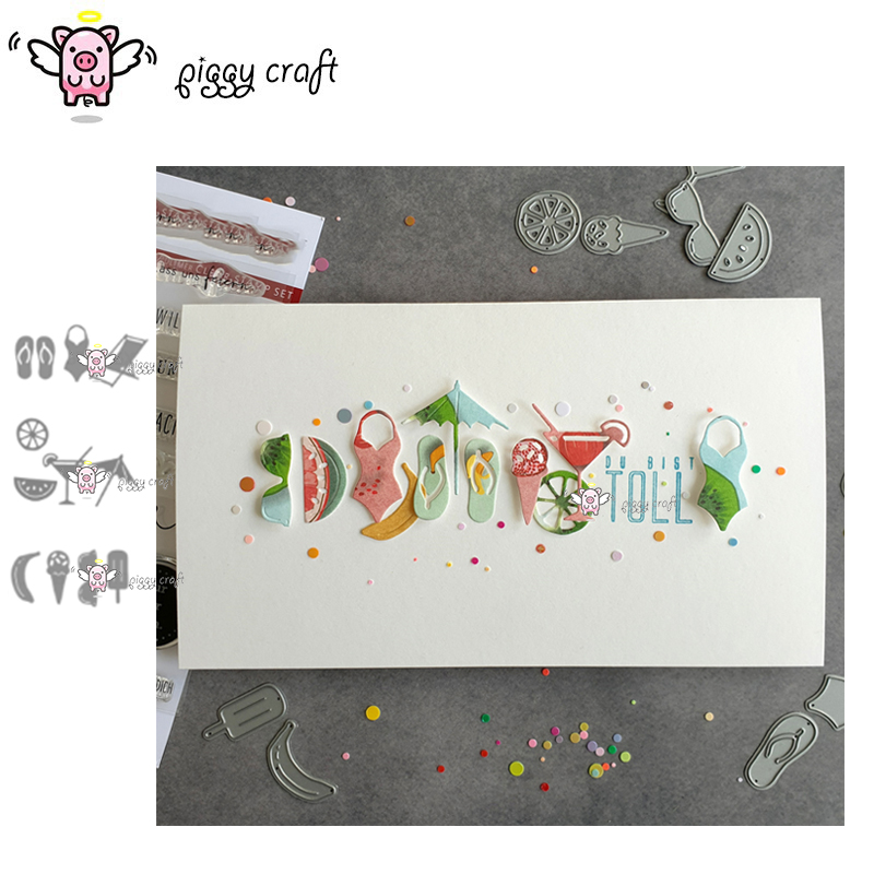 Piggy Craft Metal Cutting Dies Cut Die Mold Vacation Beach Bikini Scrapbook Paper Craft Knife Mould Blade Punch Stencils Dies