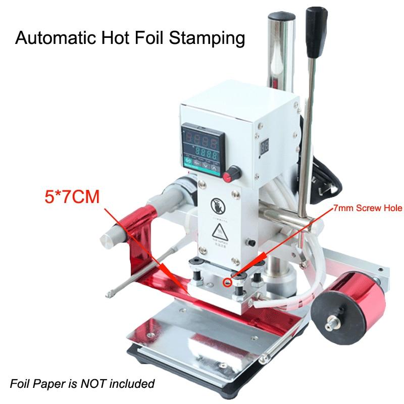 Digital Automatic Leather Hot Foil Stamping Machine Manual Embossing Tool 300W Creasing Machine Wood Paper PVC Card Printer DIY