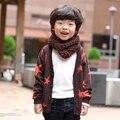 Bonito Crianças Da Menina do Menino de Manga Longa Estrela Impressão Quente Cardigan Outerwear Casaco jaqueta