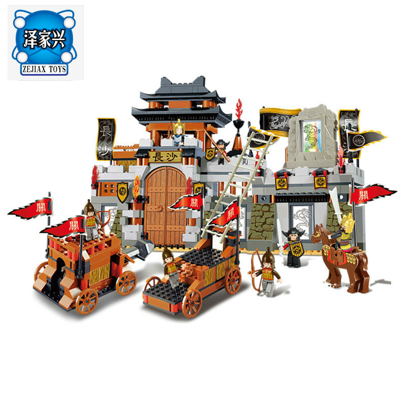 Sluban 0266 the Chinese characteristic three kingdoms castle big scene toy building blocks for children compatible lepins three s company ru bun lock children puzzle toy building blocks