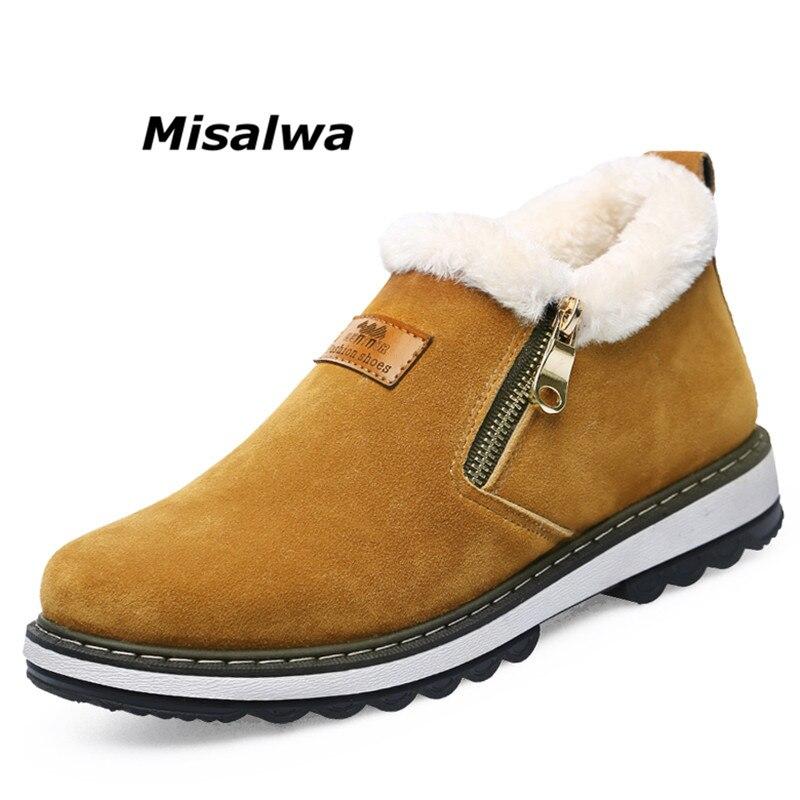 Misalwa Black Winter Boots Men Fur Warm Snow Ankle Boots Non-slip Short Plush Fashion Casual Shoes Men Zip Zapatillas Deportivas
