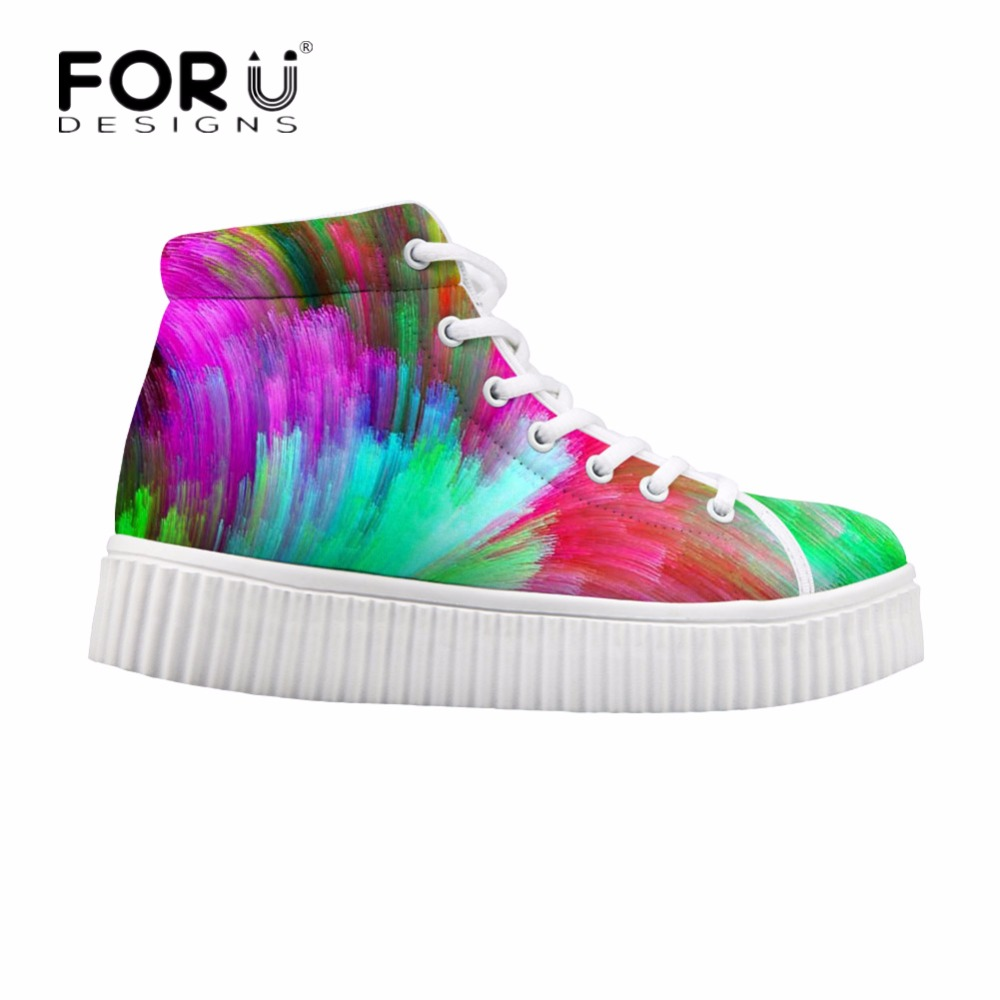 FORUDESIGNS Colorful 3D Printing Women High Top Flats Shoes Fashion Female Platform Ankle Boots for Ladies Casual Lace-up Shoes lttl fashion men shoes casual pant leather platform mens ankle boots high quality vulcanize shoes high top lace up flats shoes