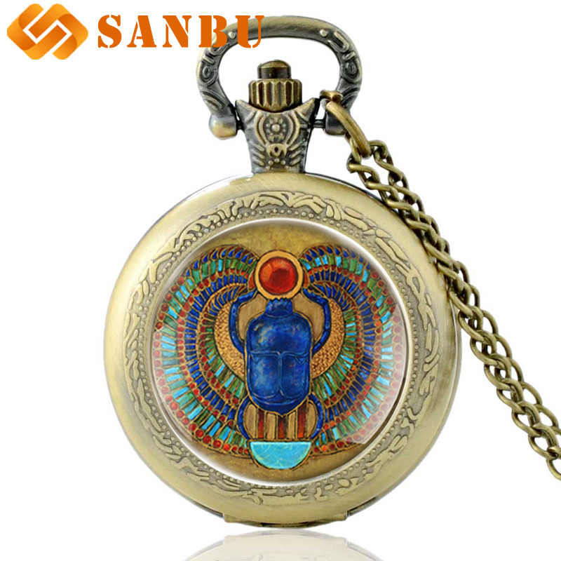 Vintage The Arab Republic Of Egypt Pharaoh Dung Chafer Bronze Quartz Pocket Watch Retro Men Women Bronze Pendant Necklace