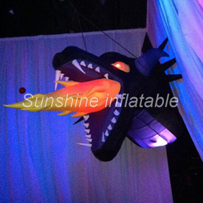 Attractive led illuminated inflatable fire dragon head for party event stage decoration