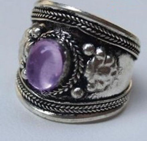 good Bridal Wedding shipping> >>>Tribal Ethnic Nepal Silver Purple Crystal jewelry ring