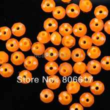 200 Pcs Orange Cut Faceted Crystal Glass Rondelle Spacer Beads 6x4mm(W02822 X 1)(China)