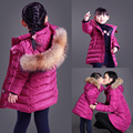 Mother And Daughter Clothes real Fur collar For Winter White Duck Down Matching Mother Daughter Clothes Jacket Coat