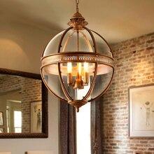 Lámpara de araña de personalidad creativa vintage Barra de restaurante cafetería americana luz colgante de sala de estar, sombra de cristal de hierro forjado