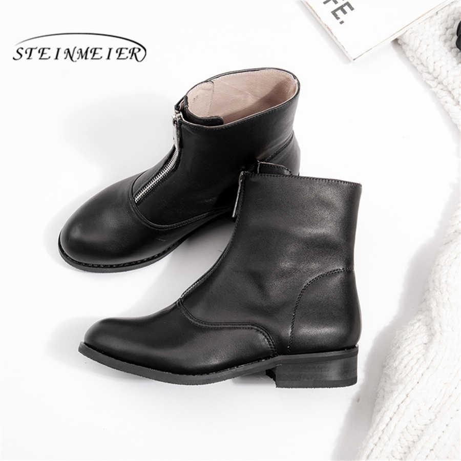 Hakiki İnek Deri Ayak Bileği kadın chelsea Çizmeler Rahat kaliteli yumuşak ayakkabı Marka Tasarımcısı El Yapımı kürklü kışlık botlar siyah