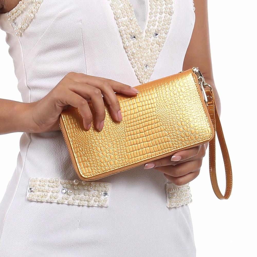 AOEO Alligator Crocodile Leather Women Wallets Luxury Slim Card Holder Money Bag Phone Cash Dollar Wristlet Womens Purse Female