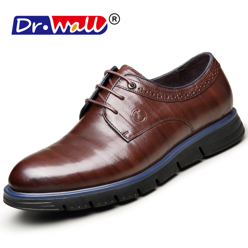 2018 Men Flats Fashion High Quality Genuine Leather Shoes Men,Lace-Up - Men's Shoes - Photo 1