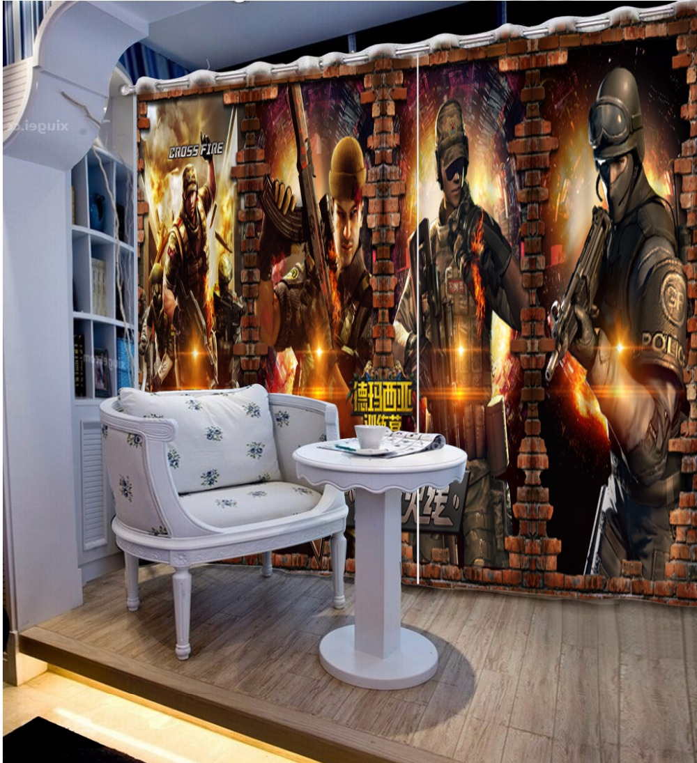 3D Curtain Home Bedroom Decoration Customize Size 3D Game