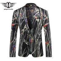 Plyesxale Men Blazer Pattern 2018 Latest Coat Design Fashion Print Blazer For Men Luxury Brand Stage Clothes For Singers Q210