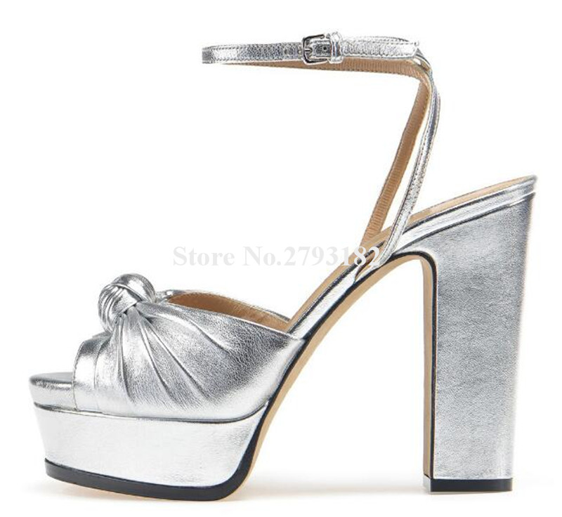 New Design Women Fashion Open Toe Tie Knotted High Platform Chunky Heel Sandals Ankle Strap Thick High Heel Sandals Dress Shoes fashion women s sandals with metal and stiletto heel design