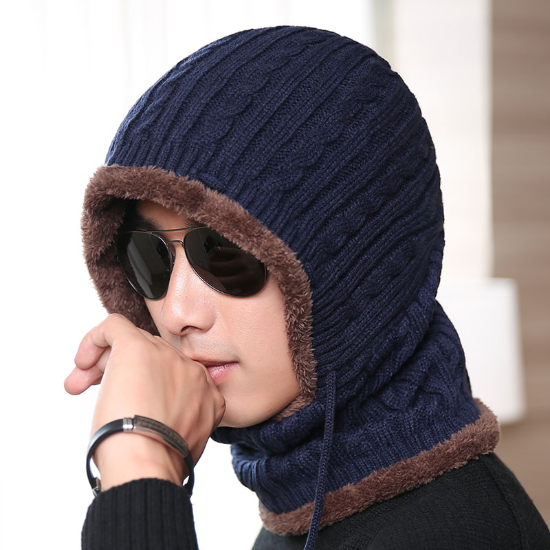 Balaclava Winter wool Hats adult Knitted Hat Beanie Men Scarf Skullies Beanies black Navy For Women Caps Gorras Mask Hats 2018