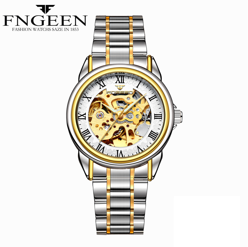 FNGEEN Women Gold Skeleton Automatic Mechanical Watches Water Resist Luminous Hands Stainless Steel Leather orologio donna clock