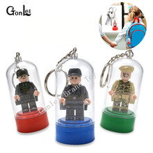Wholesale 10Pcs/lot Figure Display Box Keychain Key Ring Model Building Blocks Set Brick Toys Compatible with MOC