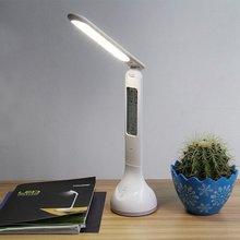 Đèn LED Để Bàn Để Bàn Có Thể Gấp Lại Mờ Có Lịch Nhiệt Độ Đồng Hồ Báo Thức Bầu Không Khí Màu Sắc Thay Đổi Đèn Sách