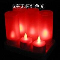 Paquete de 6 o 12 rojo verde azul blanco RGB LED recargable Velas con plástico, sin llama Navidad Velas para cumpleaños