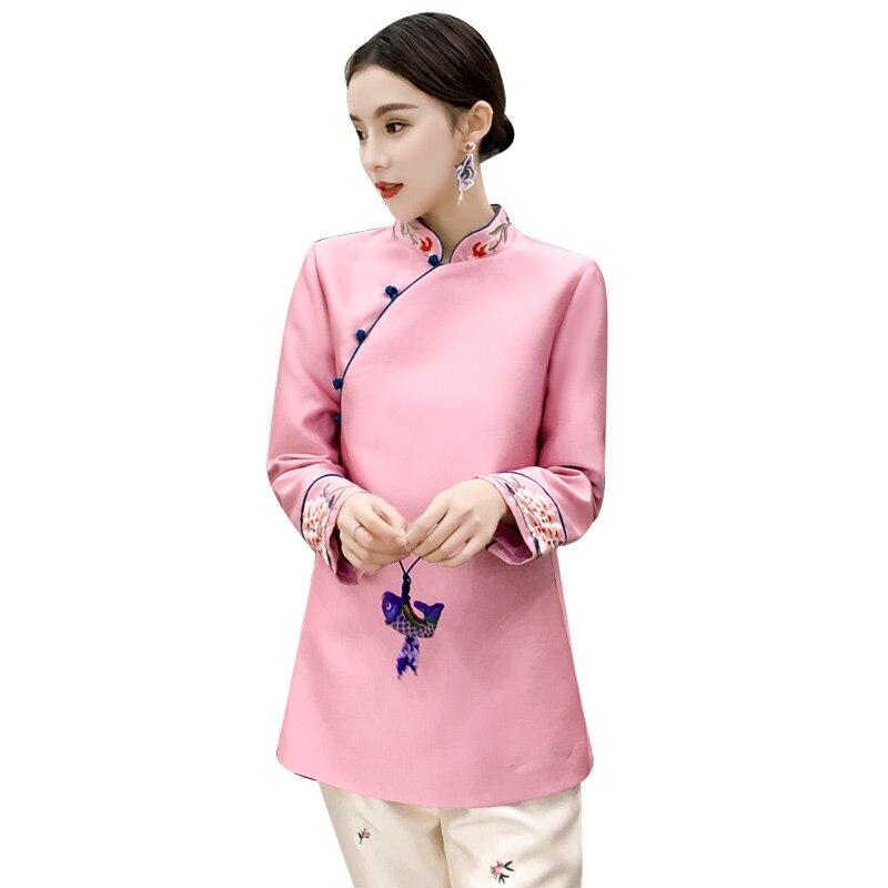 Alta Blusa Satén Bordado Estilo Señora Rosado Mejorado Tops Calidad Floral Elegante Diario Chino Vendimia Otoño Top wfq4B