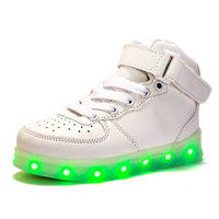 7 Colors Kids LED Shoes 2017 New Spring Winter High Top Children Growing Sneakers For Boys
