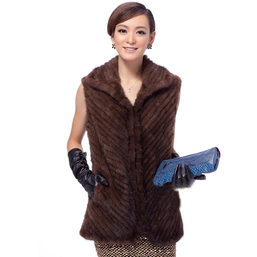 ZDFURS * 100% real mink fur vest knitted mink fur wasitcoat - Women's Clothing