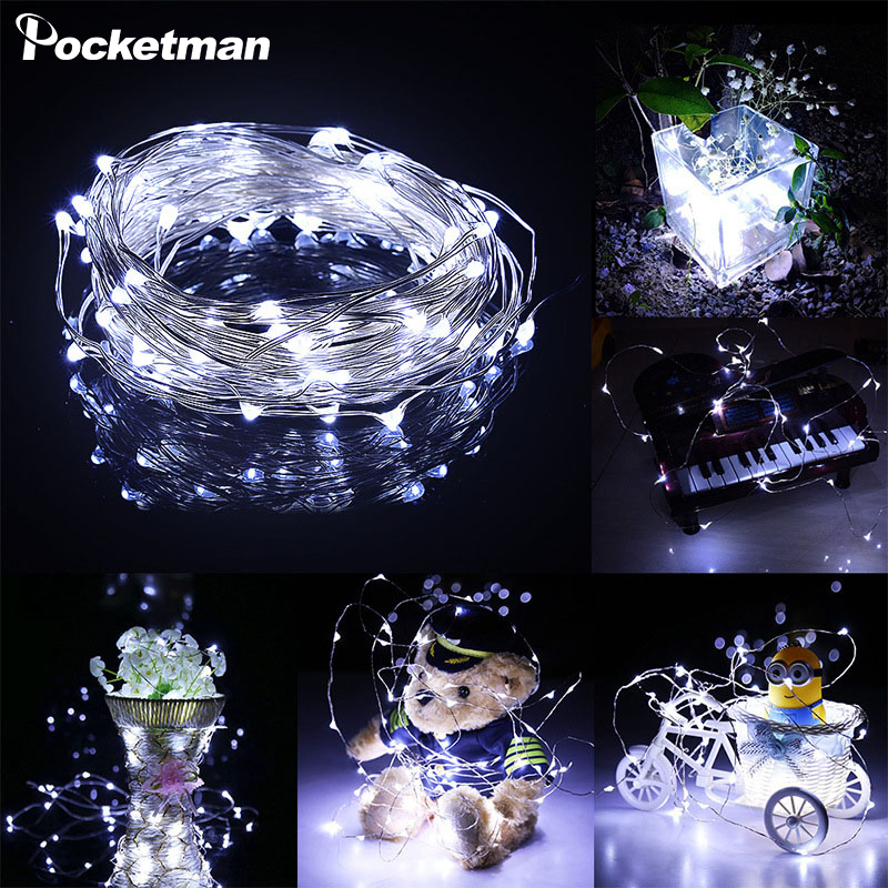 Longest Silver Wire 2M 5M 10M 100 Led Strings 3XAA Battery Operated Christmas Wedding Party Decoration LED String Fairy Lights