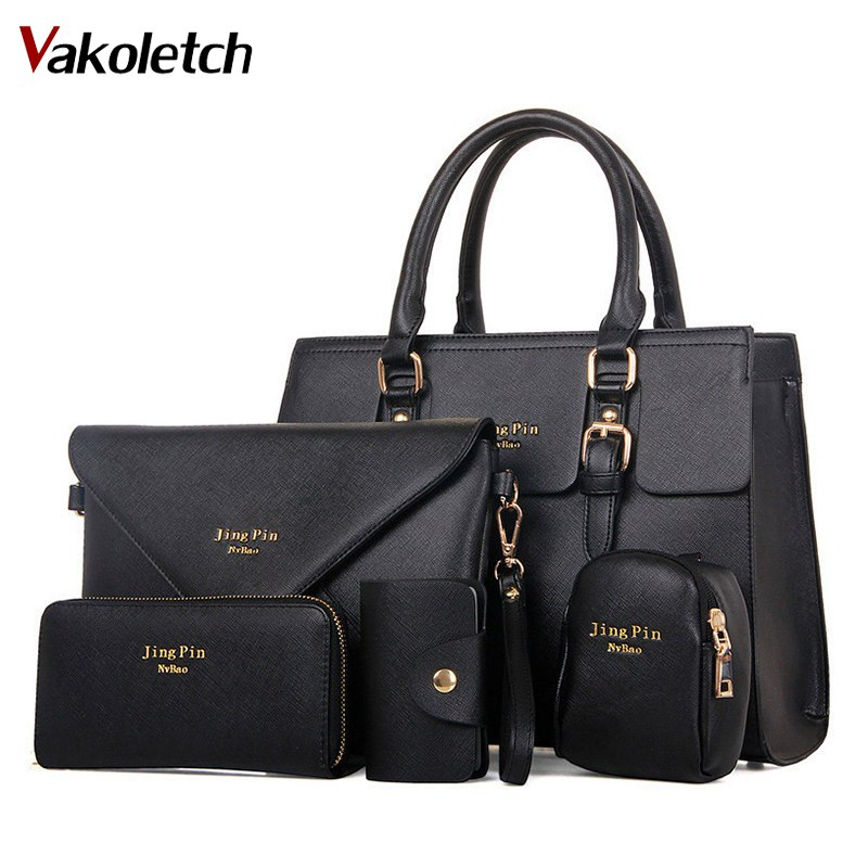 5 Bag/Set Women Handbags PU Leather Women Messenger Bag Business Hot Girls Bag Solid Volume 2018 Women Bags MB019 ...